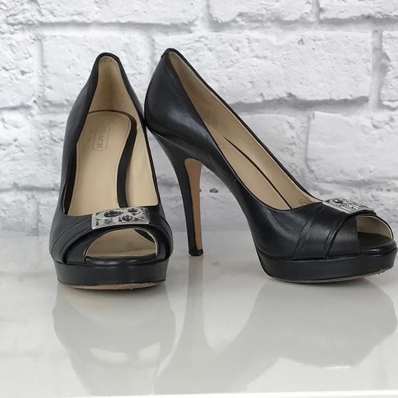 428a54ebe13 Coach Aliya Peep Toe Pump Heel Size 6.5 Black